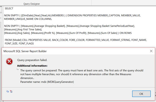 SSRS Mobile Reports: Using measures on rows and dimensions